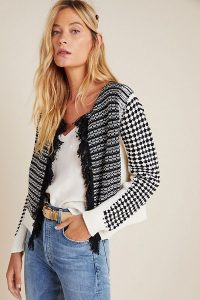Aldomartins Izabella Fringed Knitted Jacket in Blac and White | mono jackets