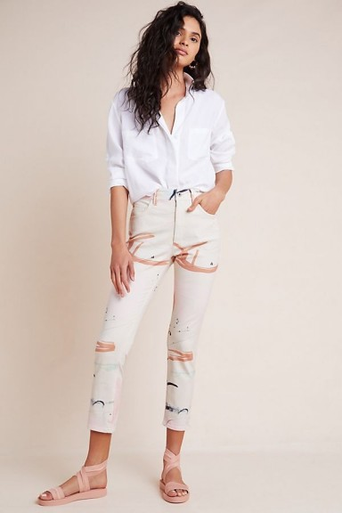 Anthropologie x Moglea Ultra High-Rise Slim Straight Jeans ~ cropped denim