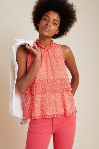 Sunday in Brooklyn Floras Embroidered Top Coral ~ pretty summer tops