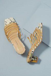 E8 by Miista Nahla Raffia-Strap Heels Yellow ~ strappy summer mules