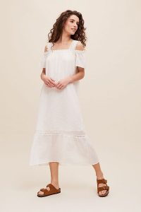 Conditions Apply Valari Midi Dress | white cold shoulder dresses