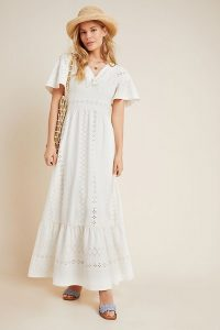 Maeve Rochelle Eyelet Maxi Dress | long white boho dresses
