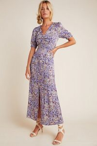 Patrizia Maxi Dress | purple front slit floral frock