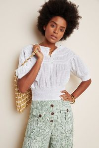 Anthropologie Luciella Smocked Blouse