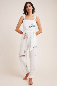 Anthropologie Christie Embroidered Linen Jumpsuit | warm weather jumpsuits