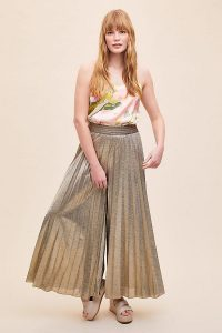 ANTHROPOLOGIE Metallic Pleated Wide-Leg Trousers Gold