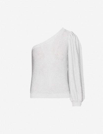 BA&SH Gloomy asymmetric knitted jumper in silver ~ one shoulder metallic fibre jumpers