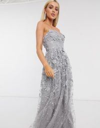 Strapless dress – Bariano 3d floral gown dress in grey – occasion gowns