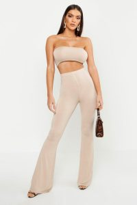Disco Outfits For Women – Basic Bandeau and Flared Trouser Co-ord – boohoo