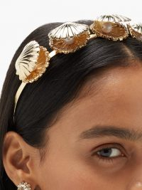 ROSANTICA Basquiat crystal & faux-pearl clam headband | shell embellished headbands