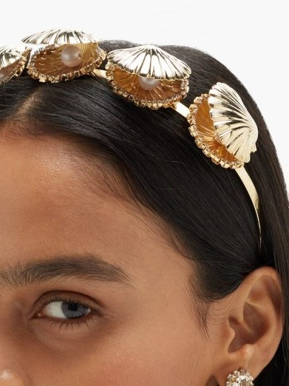 ROSANTICA Basquiat crystal & faux-pearl clam headband | shell embellished headbands - flipped
