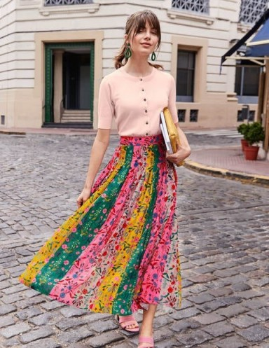 BODEN Bathsheba Pleated Midi Skirt Bright Camellia, Garden Charm