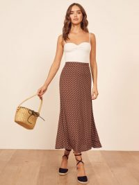 REFORMATION Bea Skirt in Cappuccino – chocolate polka dot skirts