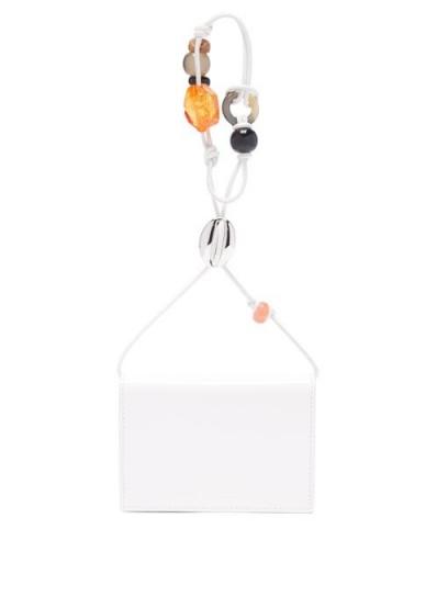 JIL SANDER Beaded-strap white-leather wallet bag