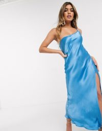 Bec & Bridge frederic asymmetric midi slip dress in azure / blue split cami dresses