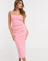 Bec & Bridge paloma bodycon midi dress in flamingo / pink close-fit evening dresses