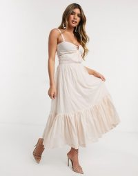 Bec & Bridge puka shell tiered midi dress in shell pink / party dresses for summer / frill hemline