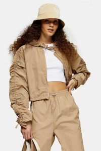 TOPSHOP Beige Shell Cropped Jacket – ruched sleeves
