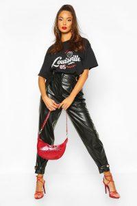 80s Fashion – Belt Detail PU Slouch Trouser – boohoo