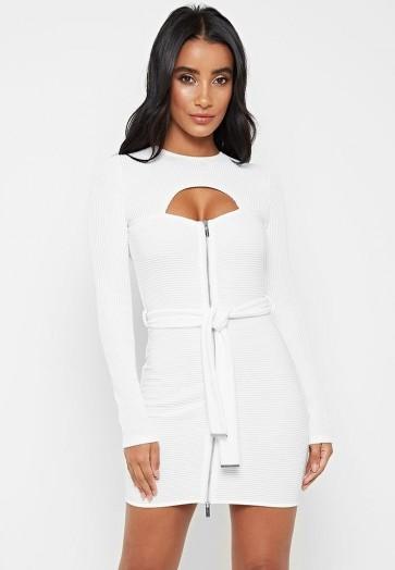 Manière De Voir BELTED RIBBED MINI DRESS WHITE – tie waist going out dresses