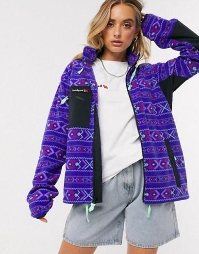 Berghaus Ascent Aztec 91 full zip fleece in Aztec deep blue - flipped