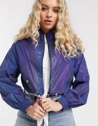 Bershka reflective windbreaker jacket in purple