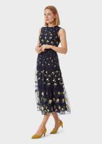 HOBBS BETHANY EMBROIDERED DRESS MIDNIGHT YELLOW / sheer overlay occasion dresses