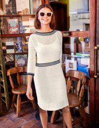 Boden Betty Pointelle Cotton Dress in Ivory