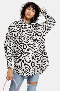 TOPSHOP Black And White Animal Print Oversized Shirt / mono shirts
