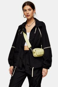 TOPSHOP Black Contrast Piping Shell Jacket – casual outerwear