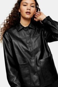TOPSHOP Black Faux Leather Shacket – skackets – casual outerwear