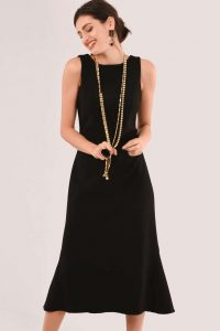 CLOSET BLACK FIT & FLARE MIDI DRESS D5670 ~ lbd