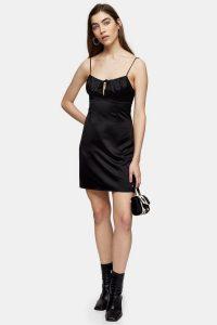 Topshop Black Gathered Bust Slip Dress – lbd – skinny strap dresses