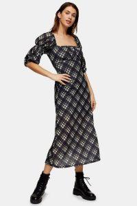 Topshop Black Mesh Balloon Midi Dress