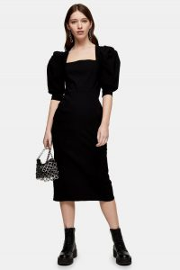 Topshop Black Square Neck Midi Dress