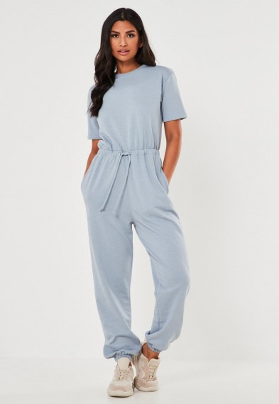 Missguided blue crew neck jogger jumpsuit – cuffed jumpsuits