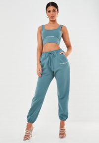 MISSGUIDED blue missguided slogan oversized 90's joggers