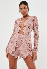 Floral jacket / MISSGUIDED blush co ord crochet lace blazer