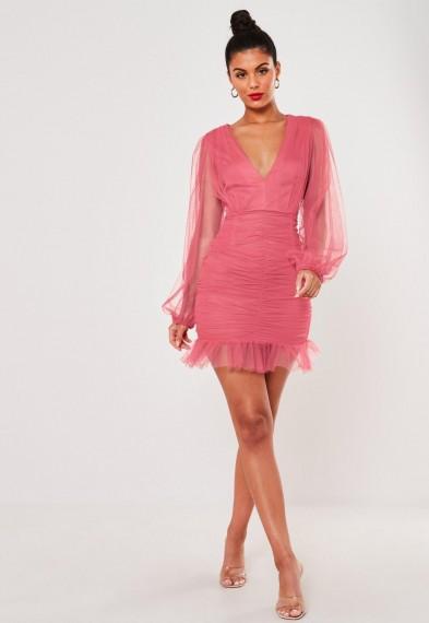 MISSGUIDED blush ruched mesh v neck mini dress – semi sheer party dresses