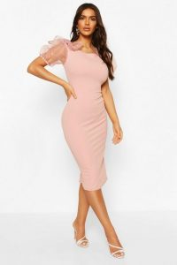 boohoo Bodycon Midi Dress With Organza Sleeves in Blush – sheer sleeve party dresses