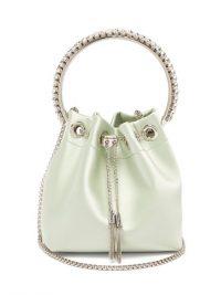JIMMY CHOO Bon Bon crystal-embellished pale-green satin clutch / small luxe handbags