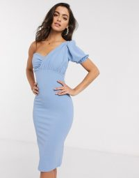 Boohoo one shoulder puff sleeve dress in blue