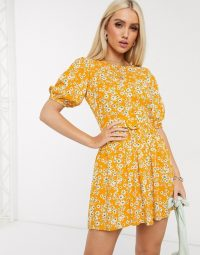 Boohoo puff sleeve skater dress in yellow floral print