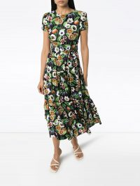 BORGO DE NOR Elisa floral-print silk midi dress / multicoloured spring dresses