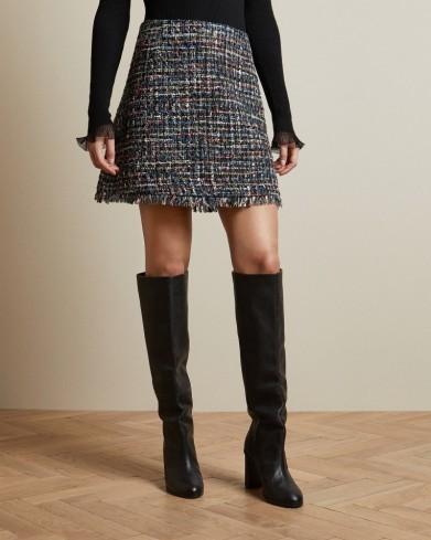 TED BAKER NOLLAS Boucle mini skirt Black