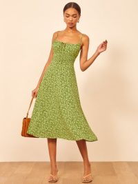REFORMATION Bran Dress in Samantha ~ green skinny strap dresses