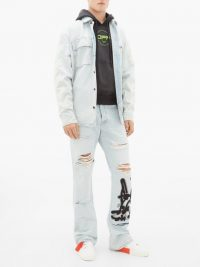 OFF-WHITE Bravado slim-leg distressed cotton jeans