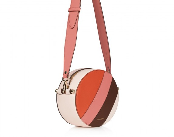 STRATHBERRY BREVE BAG PATCHWORK STRIPES SOFT PINK ~ round tonal crossbody