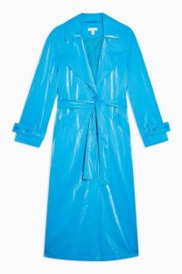 Topshop Bright Blue PU Crinkle Trench