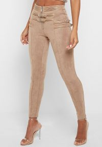 Manière De Voir BUCKLE DETAIL VEGAN SUEDE LEGGINGS BEIGE – going out skinnies